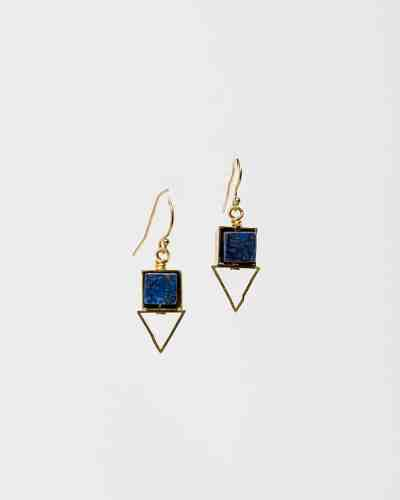 Gold and blue earrings with a triangle shape