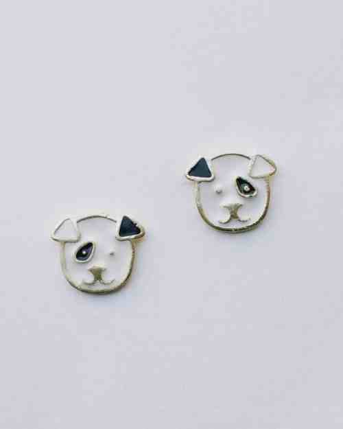 Black and white dog stud earrings