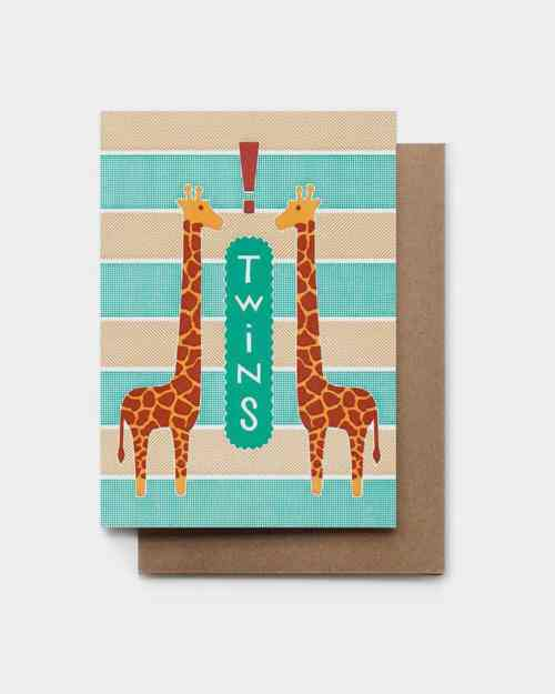 Green and tan card with giraffes that says 'twins!'