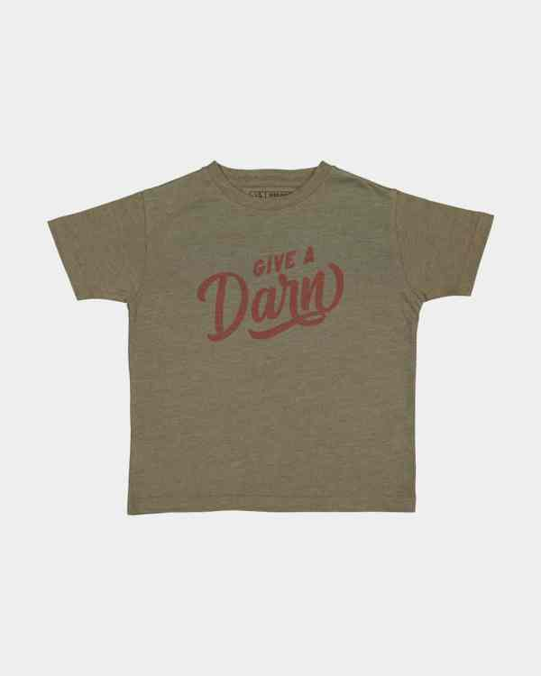 army green kids tee that says give a darn