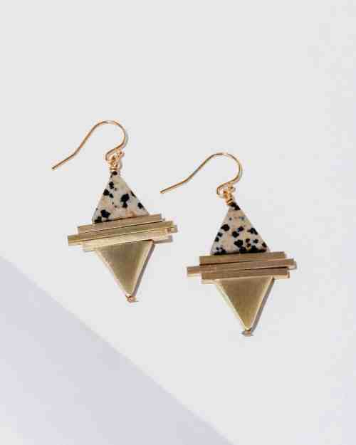 brass earrings with dalmation stones