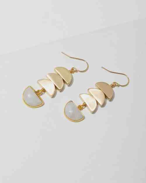 brass earrings with half circle pendants