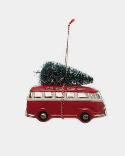Retro Holiday Van Glass Ornament