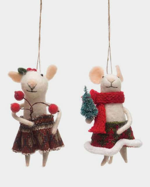 Wool Felt Caroling Mouse Ornament