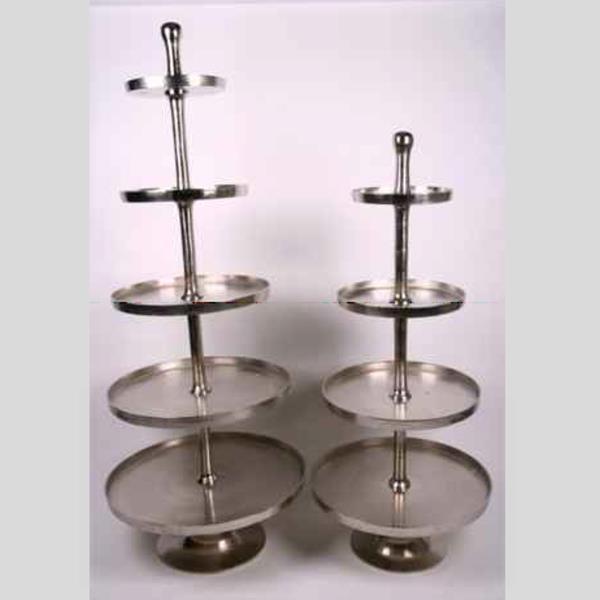 Silberne Große Etagere, 4 Runde Teller, Metall Etagere Guss