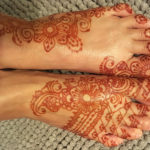 Natural fresh henna stain is orange