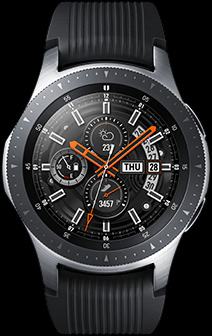 Front view of 46mm Galaxy Watch in Silver.