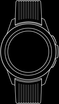 Line drawing of front view of the Galaxy Watch 42 mm with watch straps fastened.