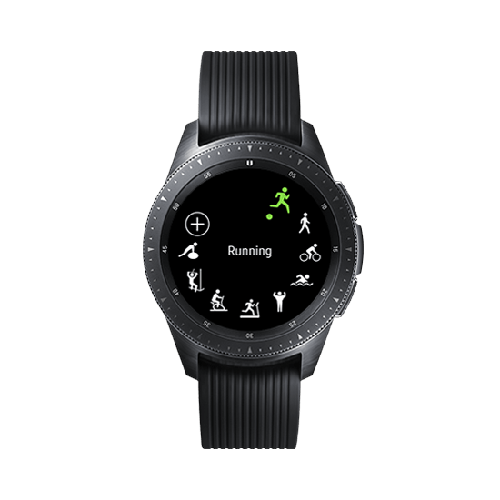 42mm Galaxy Watch in Midnight Black on white background with green-blue circle, showing various health tracking functions on the watchface.