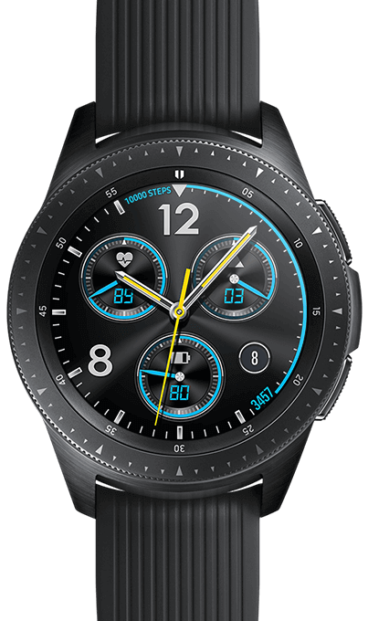Closeup of a 42 mm Midnight Black Galaxy Watch with Sporty classic watchface.