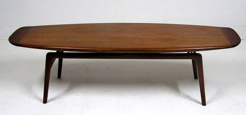 Danish Teak Surfboard Coffee Table Arne Hovmandolsen