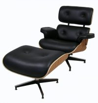 "Rosewood & Leather ""Eames"" Style Lounge Chair w/Ottoman ..."