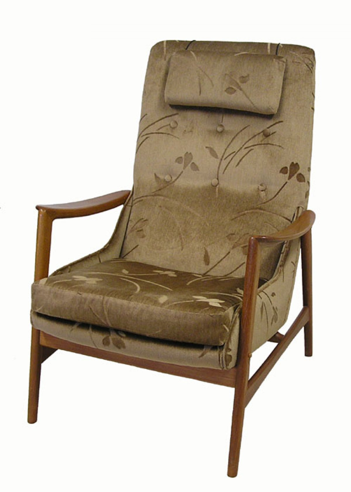 high back easy chair columbia bath 1960 70s teak r huber  hoopers modern