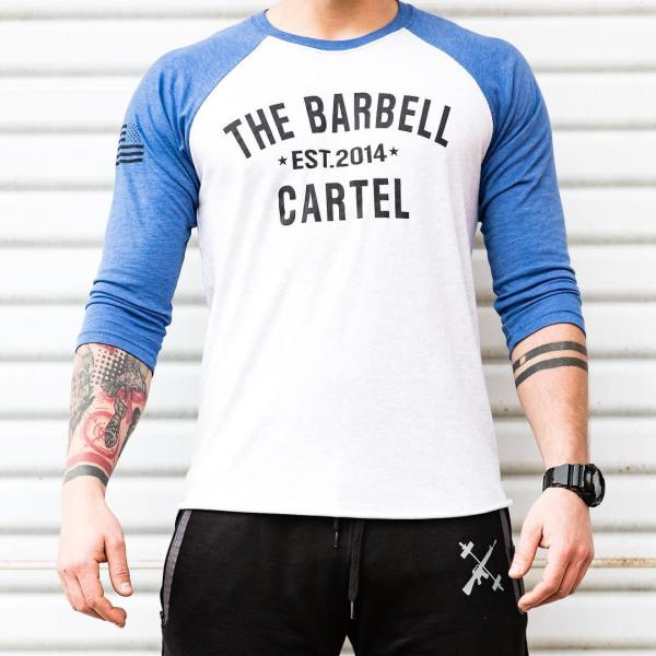 The Barbell Cartel 3/4 Baseball Tee Blue