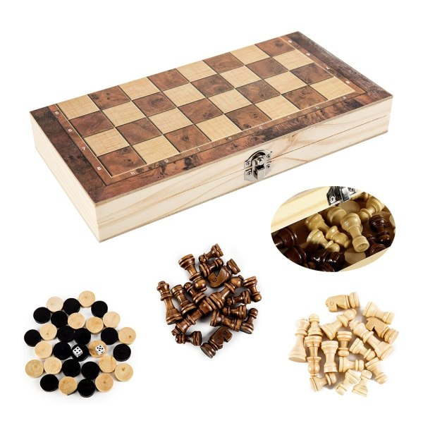3 IN 1 Wooden International Chess Set wooden Chess Board games Checkers Puzzle game engaged Birthday gift For kids ajedrez