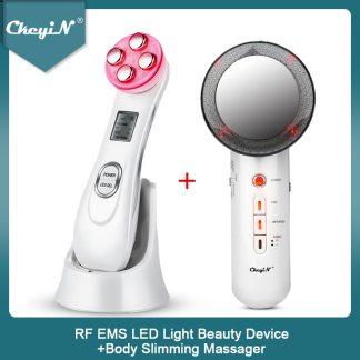CkeyiN RF EMS LED Light Facial Massage Machine Wrinkles Removal + Ultrasonic Far Infrared Body Slimming Massager Fat Burner 45