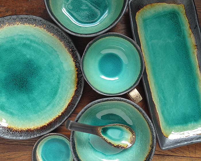 The Sea Blue line of Japanese dinnerware is our most popular. It is created in the Japanese traditional of \u201coribe\u201d blue-green vitriol glazes with the ... & Home - Japanese Dinnerware Japanese Tableware