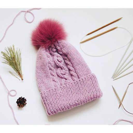 rose quartz knit hat with fur pompom by ShopLaLune