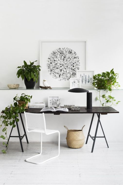 working space with greens