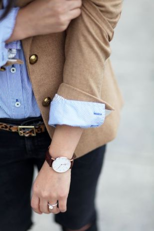 beige + blue in one outfit