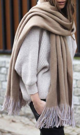 cozy beige camel blanket scarf