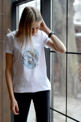 t-shirt with watercolor whales print
