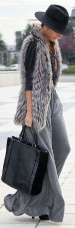 gray skirt with faux fur vest