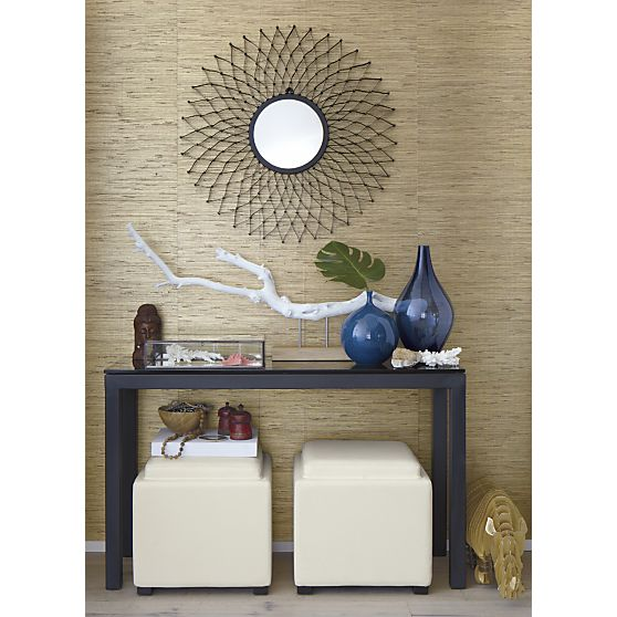parsons console table with grey glass