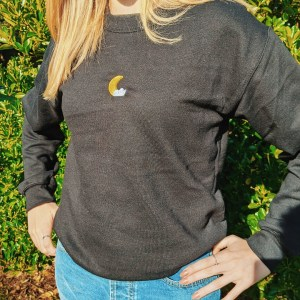 Moon and Cloud Jumper: Halloween embroidered jumper