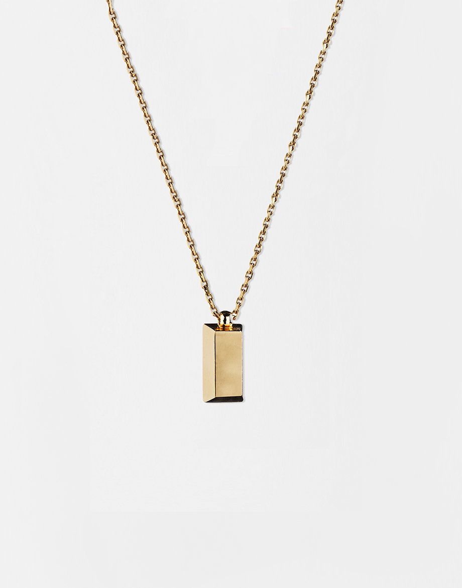Yellow Gold Bar Pendant Necklace