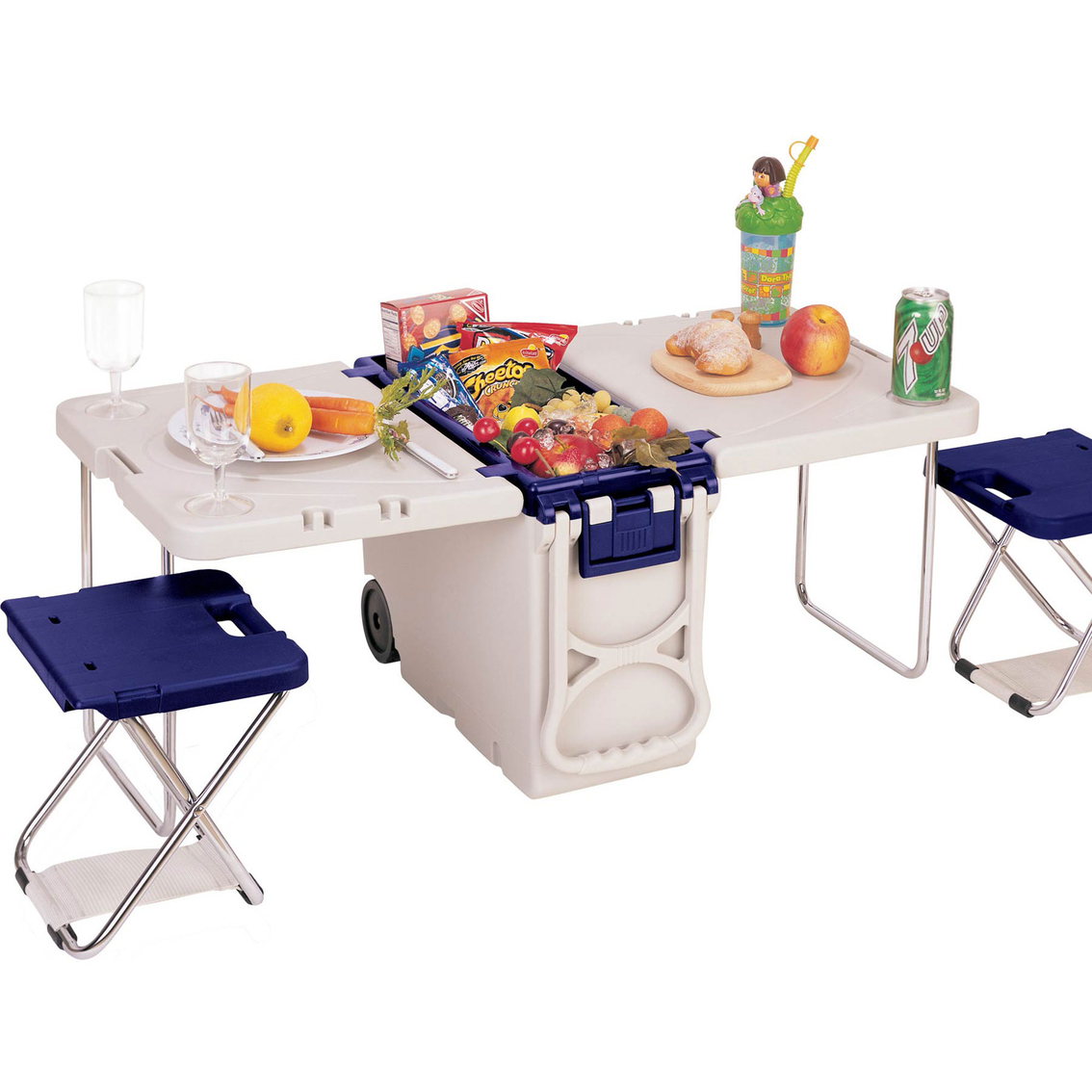 Food Chair Travelers Club Multifunction Rolling Cooler Table With 2