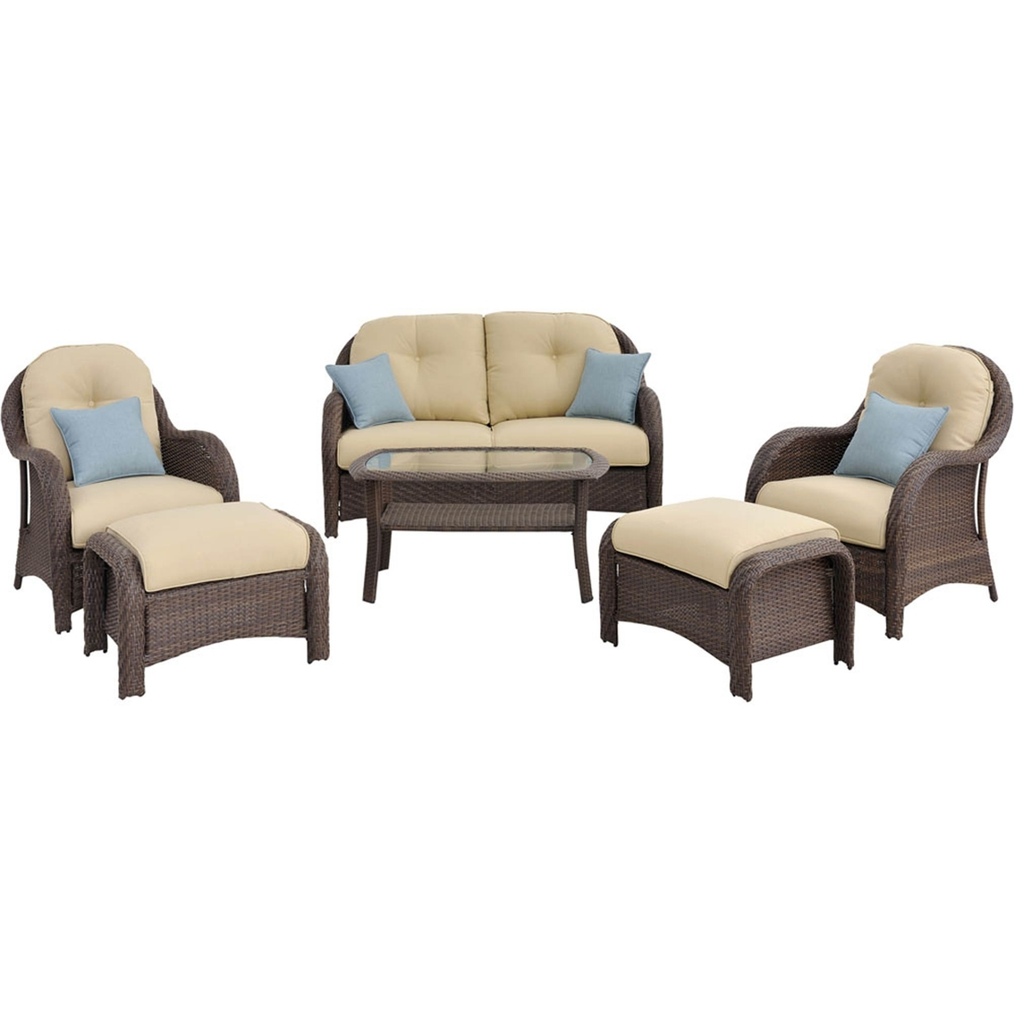 Deep Seating Patio Chairs Hanover Outdoor Furniture Newport Wicker 6 Pc Deep
