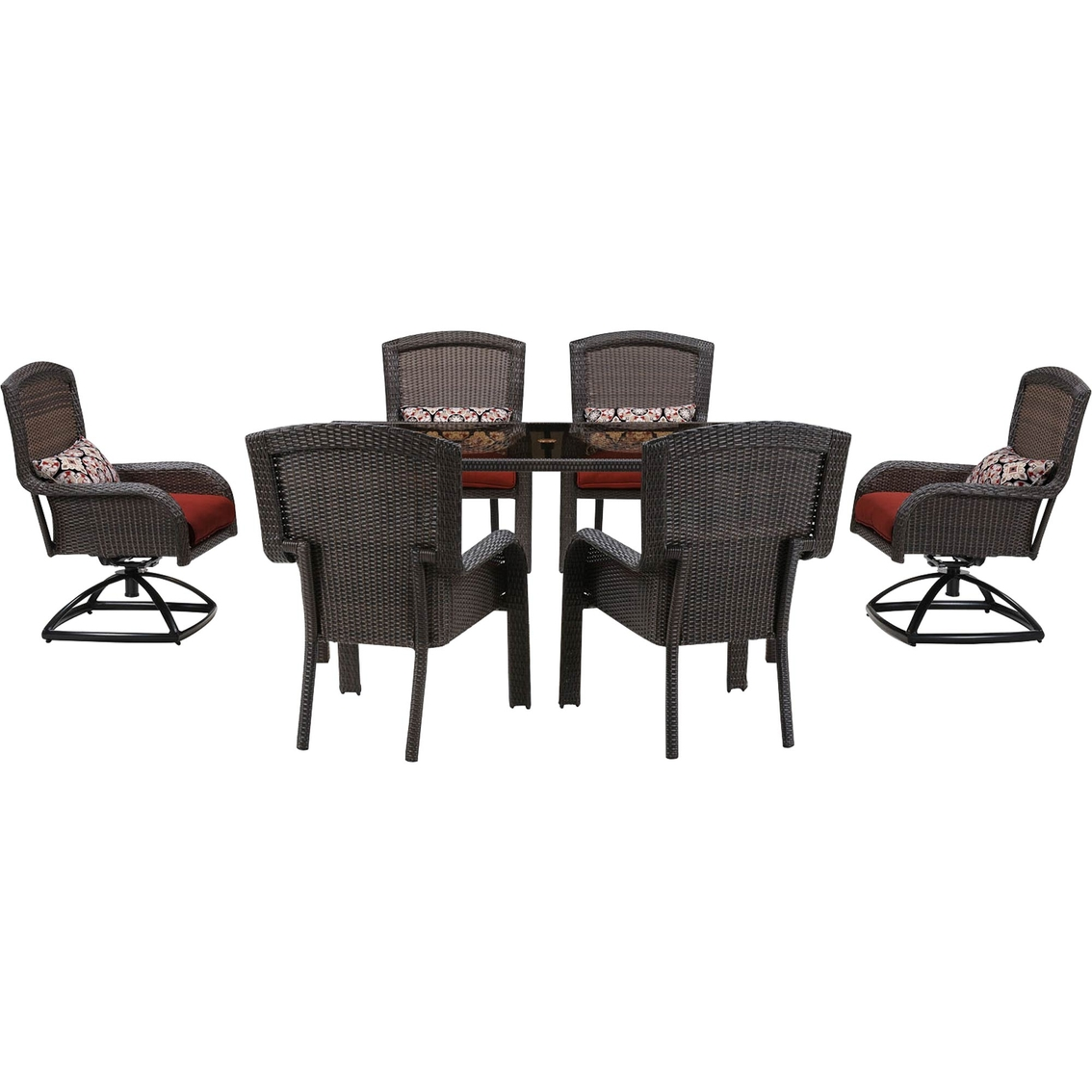 7 Piece Patio Dining Set With Swivel Chairs Hanover Strathmere 7 Piece Dining Set With 4 Stationary