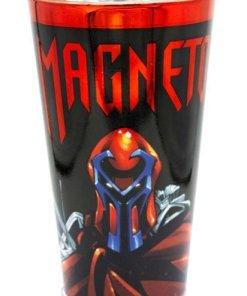 Front of Marvel Magneto chrome pint glass