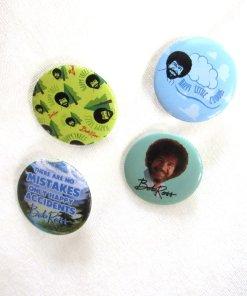 Set of four Bob Ross buttons