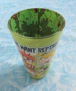 Overhead view of Rugrats pint glass with inside print
