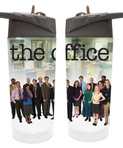Two water bottles showing the cast from The Office