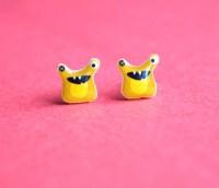 Earrings  Yellow Alien Monster Stud Earrings  The ...