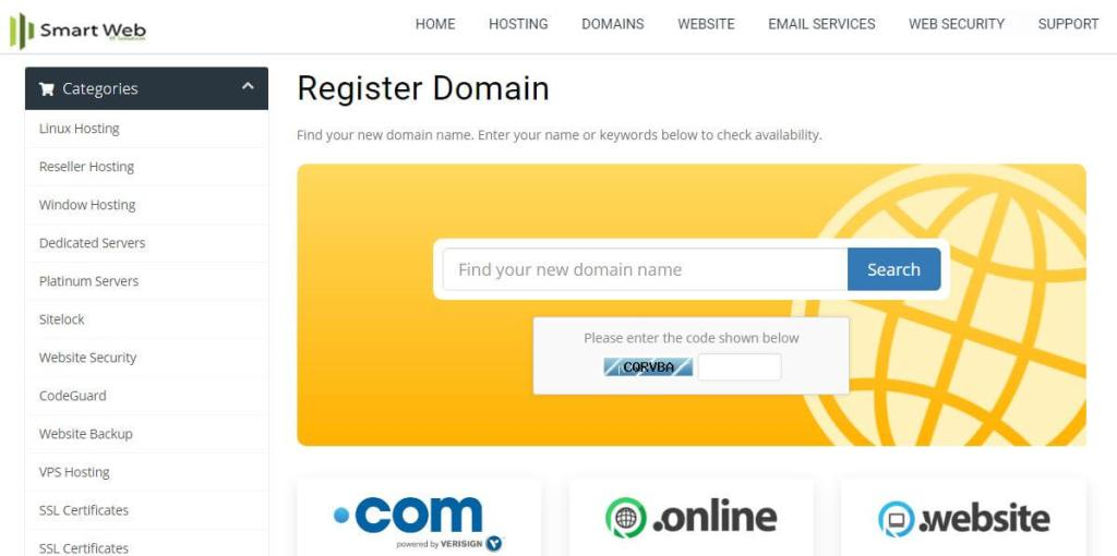 Smartweb domain registrar