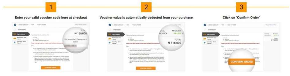 Simple 3 step process to use voucher codes