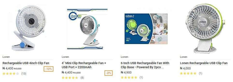 Lonen USB Rechargeable Fan