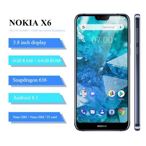 X6 (6.1 Plus) 5.8-Inch(6GB, 64GB ROM) Android 8.1, (16MP+5MP) + 16MP, Hybrid Dual SIM 4G LTE Smartphone - Blue