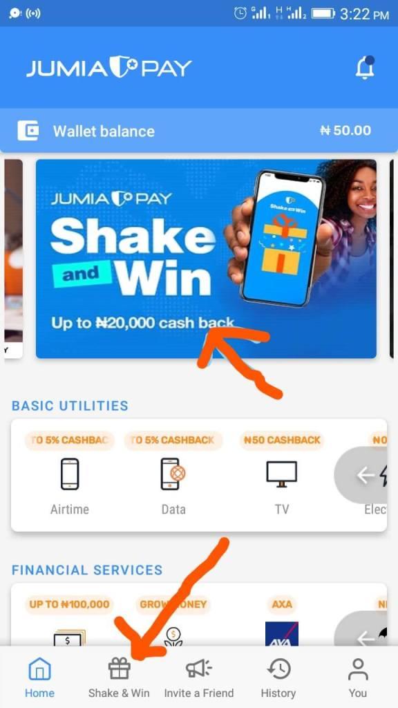JumiaPay App Tab and Banner