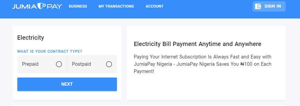 Electricity payment with JumiaPay