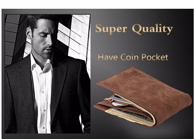 Small Thin Men's Wallet with Coin Bag