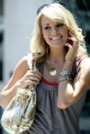 Celebrity fashion Shopping -Carrie Underwood Wearing Delicate Raymond Monogram Necklace