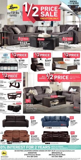 homeware peyton sofa italian leather sectional white 1 2 price sale leon s kingston brockville on