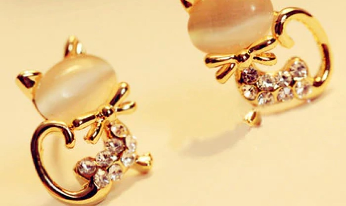 2 Color Lovely Female Zirconia Cat Stud Earrings Gold color CZ Crystal Earrings For Women Jewelry Animal Crossing