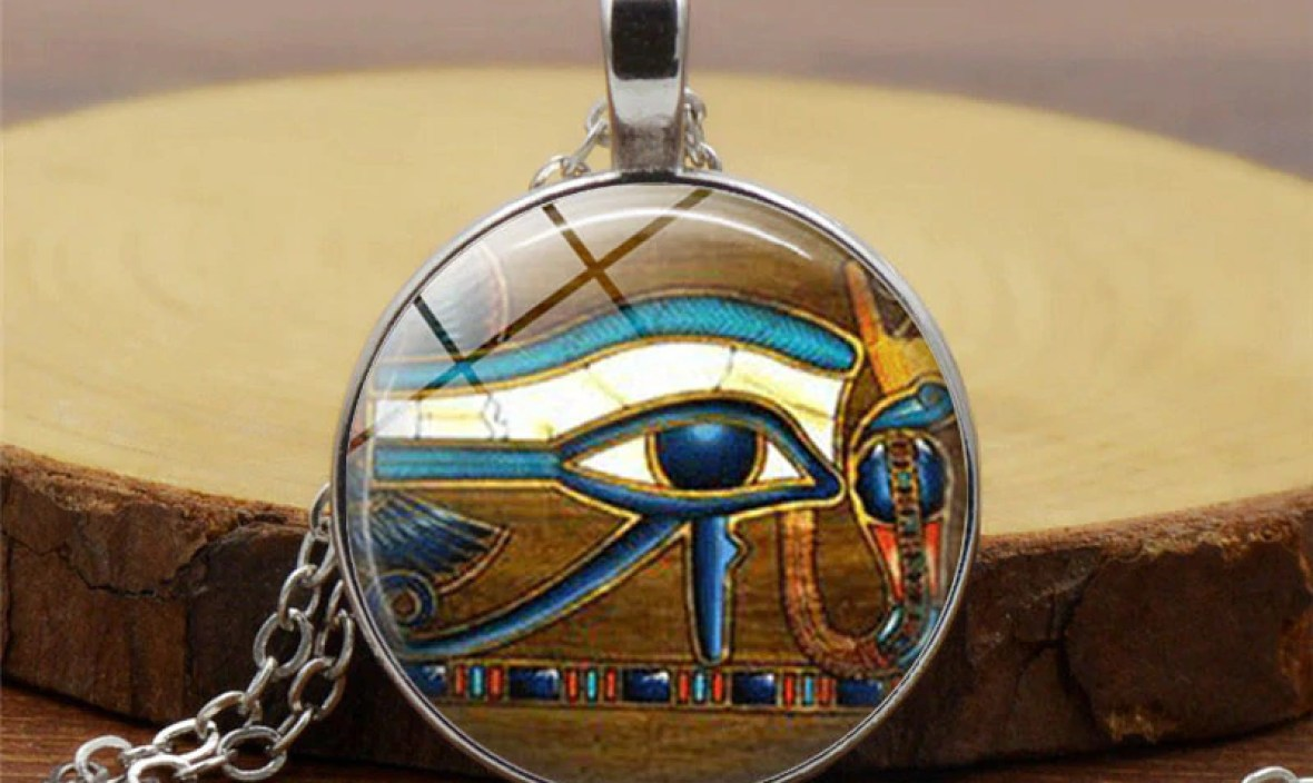 Ancient Egypt Egyptian The Eye of Horus ( Wedjat Eye ) Pendant Choker Statement Silver Necklace For Women Dress Accessories gift