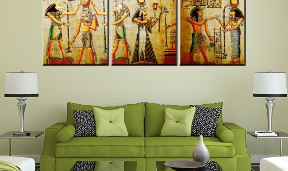 New arrival 3 pieces vintage Ancient Egypt canvas oil painting for home decoration living room wall art craft pictures